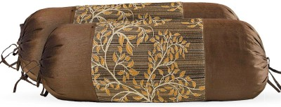 Zaffre,s Floral Bolsters Cover(Pack of 4, 38 cm*76 cm, Brown)