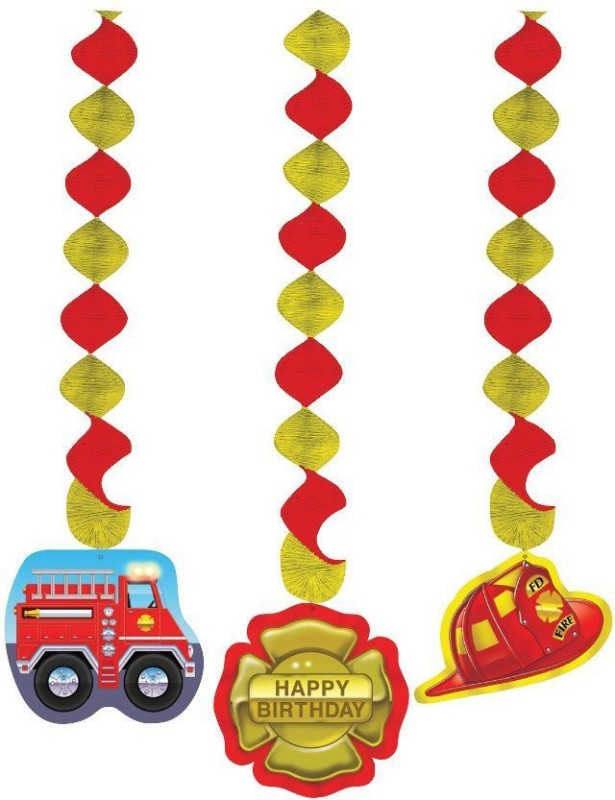 Creative Converting Firefighter 3 Count Dangling Cutouts Hanging Party Decoration Plastic Cut-outs(3)