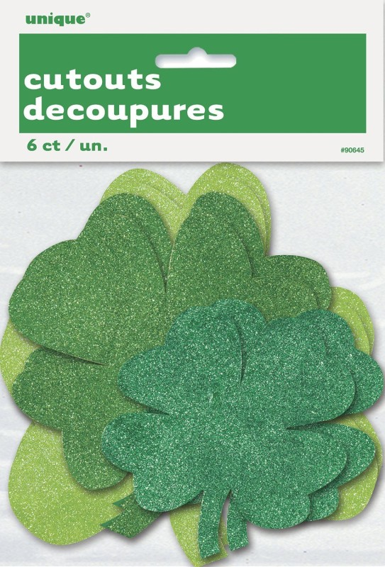 Unique Glitter Paper Cut Out Shamrock St. Patrick's Paper Cut-outs(6)