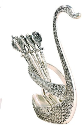 Craftghar Elegant Filigree Swan 6-Piece Fork Stand Silver Plated Cutlery Set(Pack of 7)