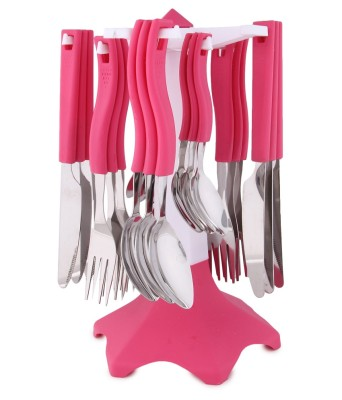 Jen Pink Plastic, Steel Cutlery Set(Pack of 24)