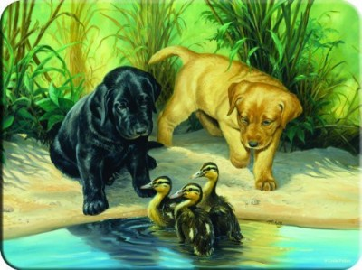 River,s Edge Tempered Glass Cutting Board With Image Of Cute Lab Puppies Watching Over Ducklings On A River Bank