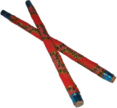 Dakshcraft Red Wooden with Decorative lace Dandia Sticks(Red)