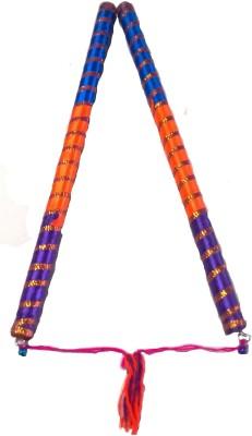 IndoArtisan Triranga-01 Dandia Sticks(Orange)