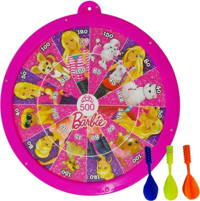 Barbie Metallic Round Dart and Slides & Ladders Game with 3 Darts , 4 Pawns and 1 Dice Soft Tip Dart(Pack of 1)