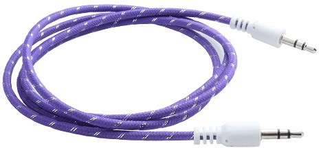 Storite 3.5mm Male to Male Stereo Audio - cotton Wired - 2M AUX Cable(Purple)