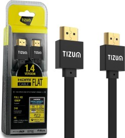 TIZUM FLAT 1.4 Version High-Speed Gold Plated Connectors, Supports Ethernet 3D, 1080P 4K (5 Feet/ 1.5 Meters) HDMI Cable(Multicolor)