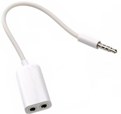 eGizmos Audio Split Cable For 3.5mm Jack Headphone Earphone For ipod iPhone Mobile Pc Mp3 Laptop Headphone Splitter(White)