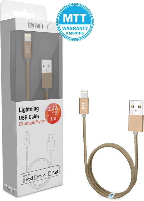 MTT Apple MFI Certified Nylon Braided Gold Lightning Cable(Gold)