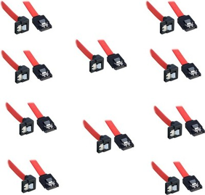 Storite SATA 3 cable with Locking Latch straight to Right Angle 90 Degree (10 Pack Sata3 Data Cable) Power Cord