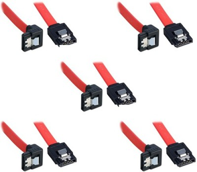 Storite SATA 3 cable with Locking Latch straight to Right Angle 90 Degree (5 Pack Sata 3 Data Cable) Power Cord