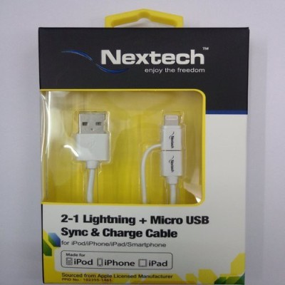 Nextech NC9K 2in 1 5/5s/6/6plus Lightning + Micro USB Sync & Charge Cable