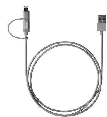 Targus 2-in-1 Lightning And Micro Cable for iPad, iPod, iPhone, and Smartphone ACC995AP USB Cable