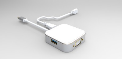 Envent Type C to USB, VGA & Charging Adapter ET-TCM012 USB C Type Cable