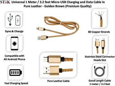 Stok Stok USB charging/sync cable for Android Phones with integrated leather USB Cable