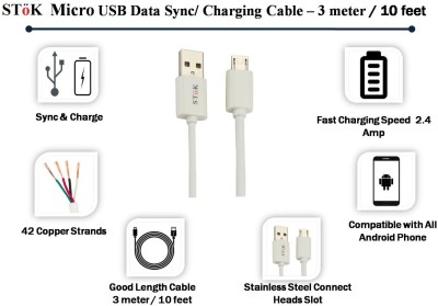 Stok Micro USB Charging Cable for All Android Phone USB Cable