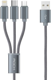 Rock 3 in 1 charging Cable (USB to lightning+type c+Micro)_36493 USB Cable(Brown)