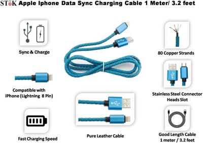 Stok Stok USB charging/sync cable for iPHONE 6,6PLUS, 5, 5S, 5C with integrated leather USB Cable