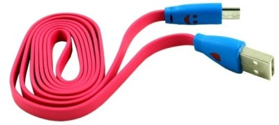 Dhhan Stylish Smiley Pink Flat Cbale for iPhone 5/5s/5c USB Cable