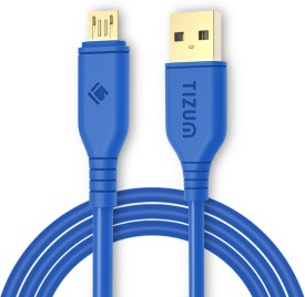 TIZUM XL- 6.5 Feet Gold Plated - High Speed, Quick Charge 2.4 Amp & Data Sync USB Cable(Blue)