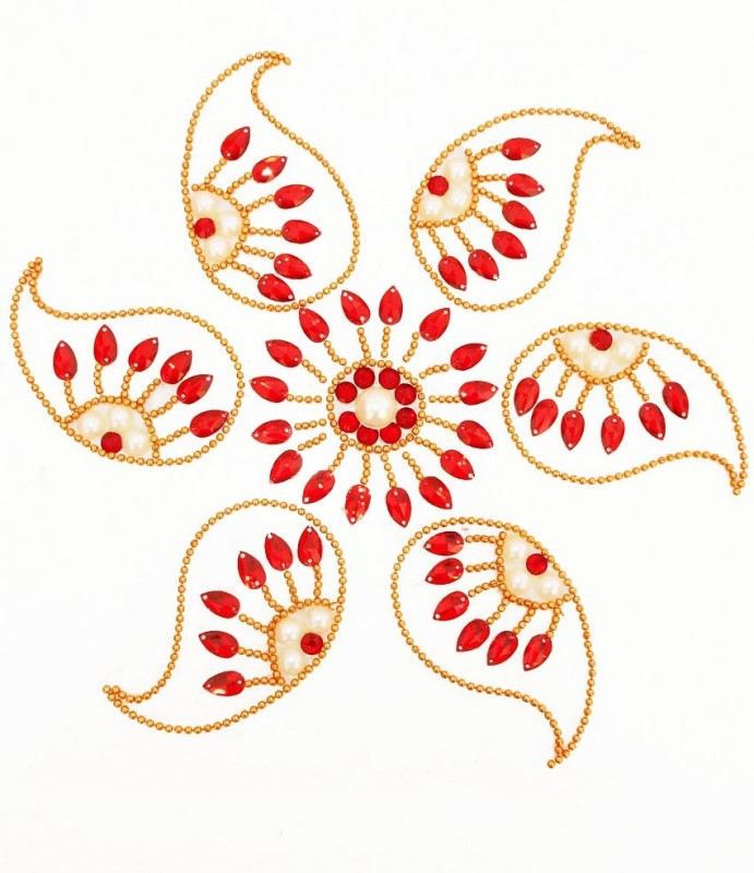 Susajjit Red, Golden Decorative Kundan Rangoli - 1