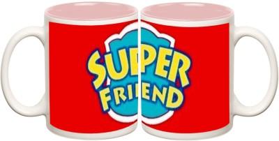 Super Friend Inner Pink Colour Mug Off white Ceramic - 50 ml