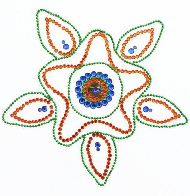 Susajjit Orange, Blue Decorative Kundan Rangoli - 1