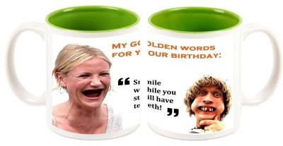 Happy Birthday Inner Green Mugs multi colour ceramic mug - 325 ml