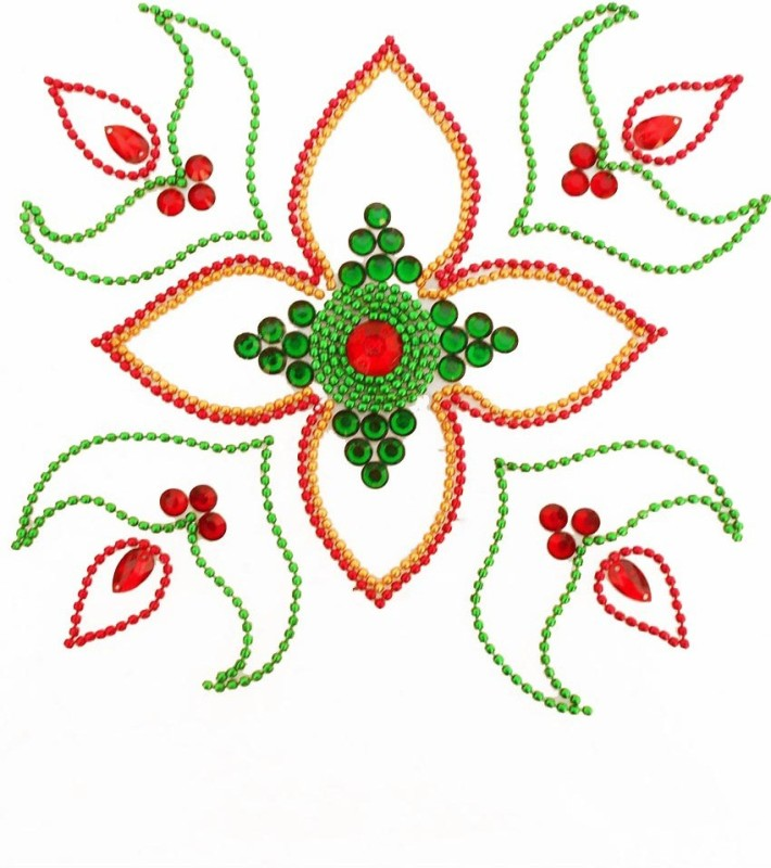 Susajjit Green, Red Decorative Kundan Rangoli - 1
