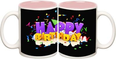 Data Express - Happy Birthday Pink Inner Mug Off White Ceramic - 325