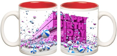 Happy Birthday Inner Red Colour Mug multi colour mug - 325 ml