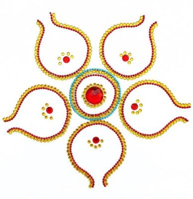 Susajjit Yellow, Red Decorative Kundan Rangoli - 1