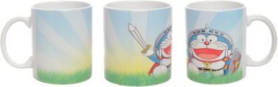 Doraemon Rising Sword Ceramic Coffee Mug Multicolour Ceramic Coffee Mug - 325 ml