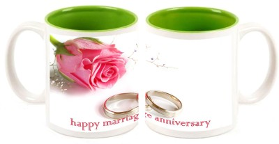 Happy Anniversary Inner Green Mug multi colour mug - 325 ml