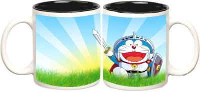 Doraemon Black Inner Colour Mugs multi colour ceramic - 325 ml