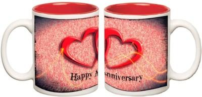 Happy Anniversary Red Inner Colour Mugs multi colour ceramic mug - 325 ml