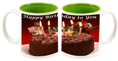 Happy Birthday Green Colour Inner Mug multi colour ceramic - 325 ml