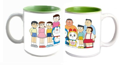 Doraemon Green Inner Mugs multi colour ceramic mug - 325 ml