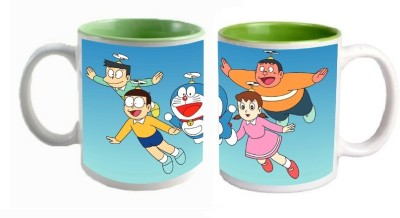 Doraemon Inner Green Mugs multi colour Ceramic Mug - 325 ml