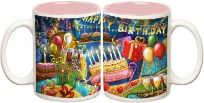 Happy Birthday Inner Pink Colour Mug Off white Ceramic - 50 ml