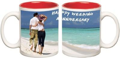 Happy Anniversary Inner Red Mug multi colour ceramic - 325 ml
