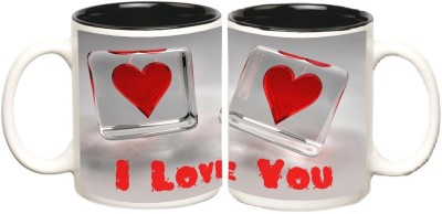 Love Black Colour Inner Mugs multi colour ceramic - 325 ml