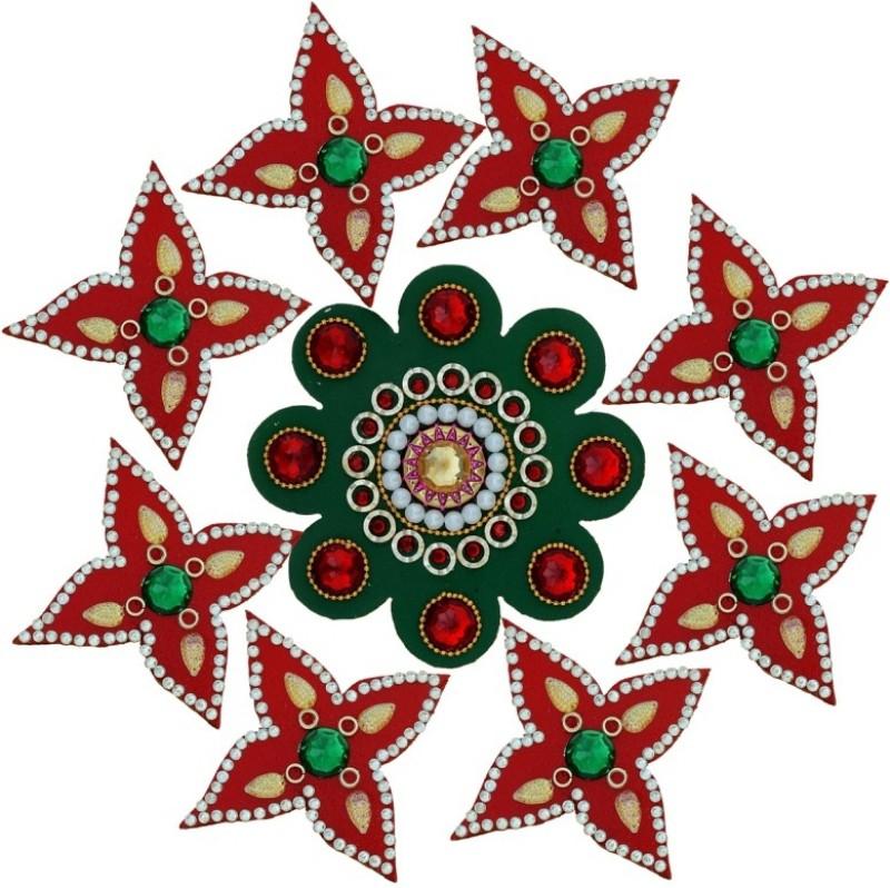Ashyam Red, Green Rangoli Stencil - 9 g