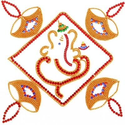 Susajjit Red, Golden Decorative Kundan Rangoli - 1