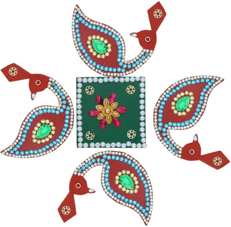 Ashyam Red, Green Rangoli Stencil - 5 g