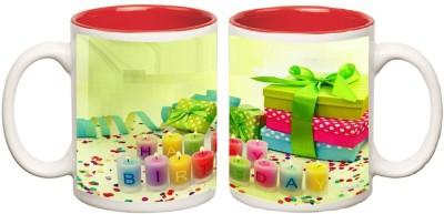 Happy Birthday Red Inner Mugs multi colour ceramic mug - 325 ml