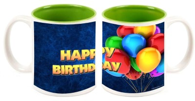 Happy Birthday Inner Green Mugs multi colour ceramic mug - 325 ml
