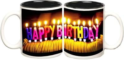 Happy Birthday Inner Black Colour Mug multi colour ceramic - 325 ml