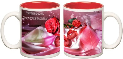 Happy Anniversary Red Inner Colour Mug multi colour Ceramic - 325 ml