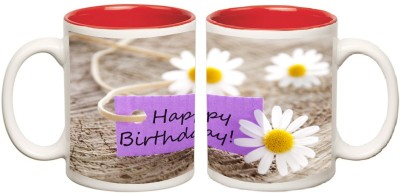 Happy Birthday Red Colour Inner Mug multi colour Ceramic - 325 ml